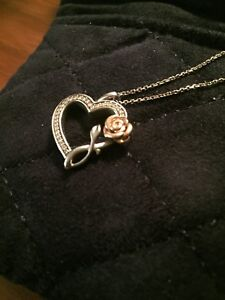 Enchanted Disney Belle Diamond Rose and Heart Pendant