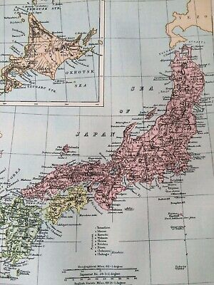 1875 Japan Original Antique Map Asia Yezo Vintage