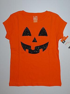 Halloween~T-Shirt~USA~116-122~Kürbis~Pullover~Gesicht~orange~Amerika~Mädchen