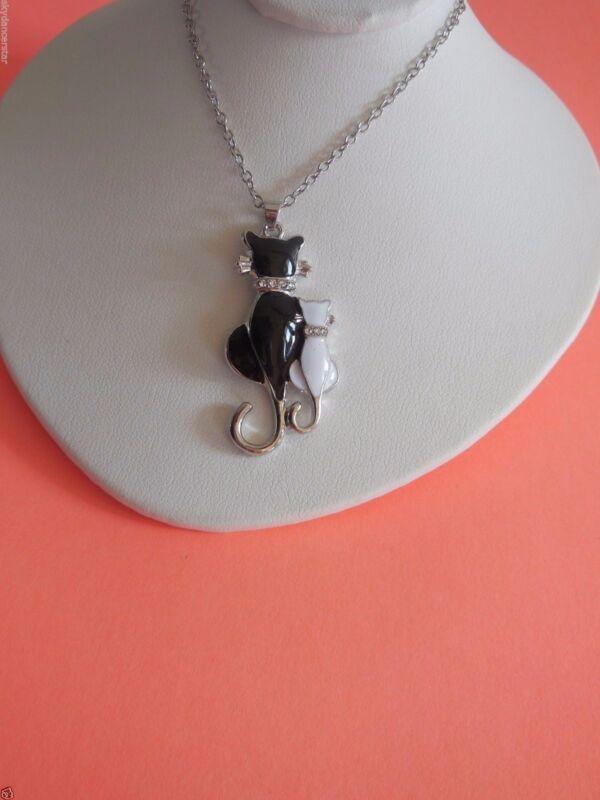ENAMEL CAT PENDANT NECKLACE BLACK WHITE YIN YANG SILVER TONE18 Inches CAT RESCUE