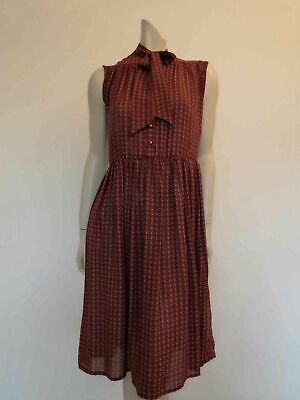 80s Dresses | Casual to Party Dresses Vintage 1980s Burgundy Dress With Tie Neck, Pussy Bow - Ronen Young for Dolina $38.23 AT vintagedancer.com