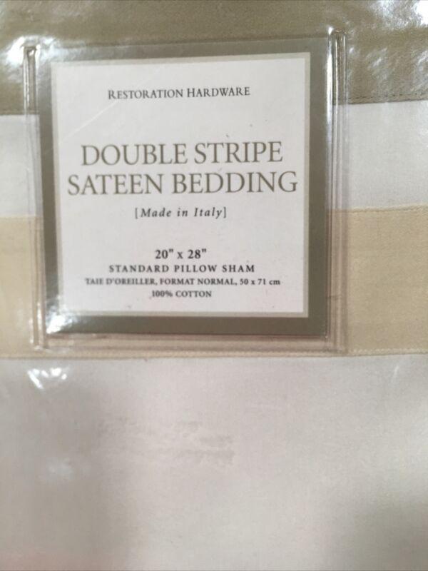 RESTORATION HARDWARE DOUBLE STRIPE SATEEN BEDDING - 2 STANDARD PILLOW SHAMS