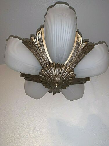 1930s Art Deco 5 Light Markel Slip Shade Fixture