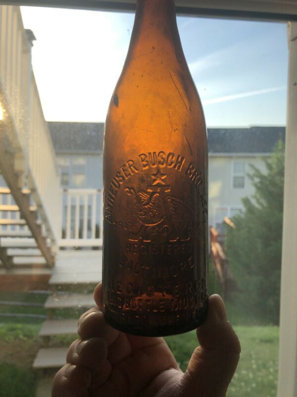 ANHEUSER BUSCH BALTIMORE MD MARYLAND AMBER BEER BOTTLE SCARCE BLOB TOP