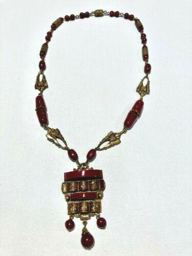 Czechoslovakia Deco Pendant Necklace Carnelian & Brass Choker VTG 1930s Signed