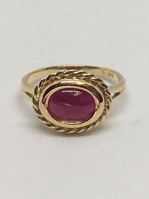 14k Gold Cabochon Ruby Ring Size (Gold Cabochon Ruby)