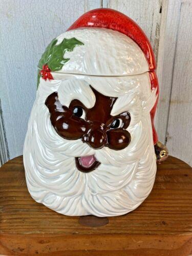 Vintage African American Black Santa Claus Cookie Jar Adorable!
