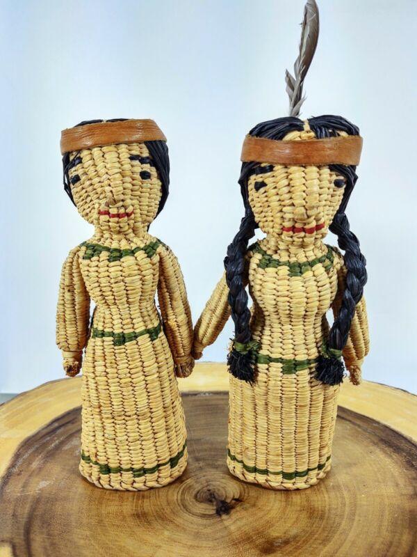 Vtg Hand Woven Native American Dolls