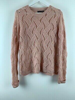 Womens Ladies Knit Sweater Pink Size 12 Uk *2