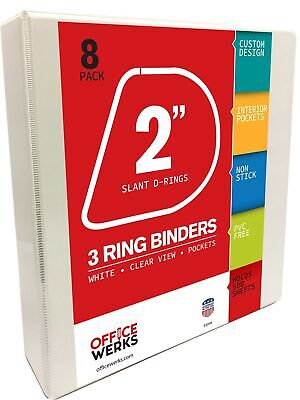 3 Ring Binders 2 Inch Slant-d Rings White 8 Pack Clear View Pockets