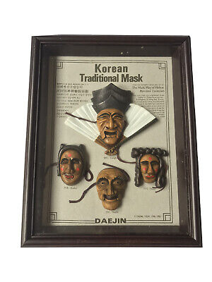 Vintage - Korean Traditional Cased Masks Of Hahoe Byeolsin Exorcism. 1991