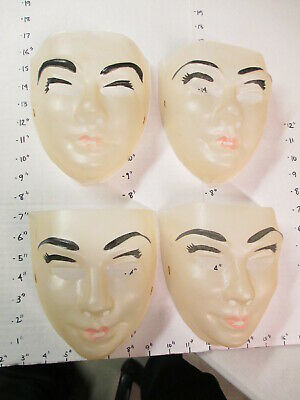 Painted Halloween Lips (halloween mask 1970s human clear face male painted eyebrows lips WOMAN)