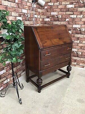 VINTAGE SOLID OAK WRITING DESK BUREAU WITH KEY ( POSSIBLE UP-CYCLING PROJECT )