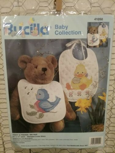 Bucilla Stamped Cross Stitch Kit Baby Collection Teddy & Friends Bib Pair New