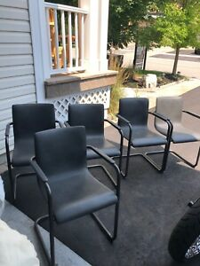 6 arm chairs for dining table, space gray.