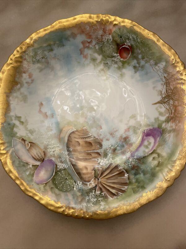 Antique J.P./L Limoges Hand-Painted Shells & Gold Trim Detailed Back Bowl Plate