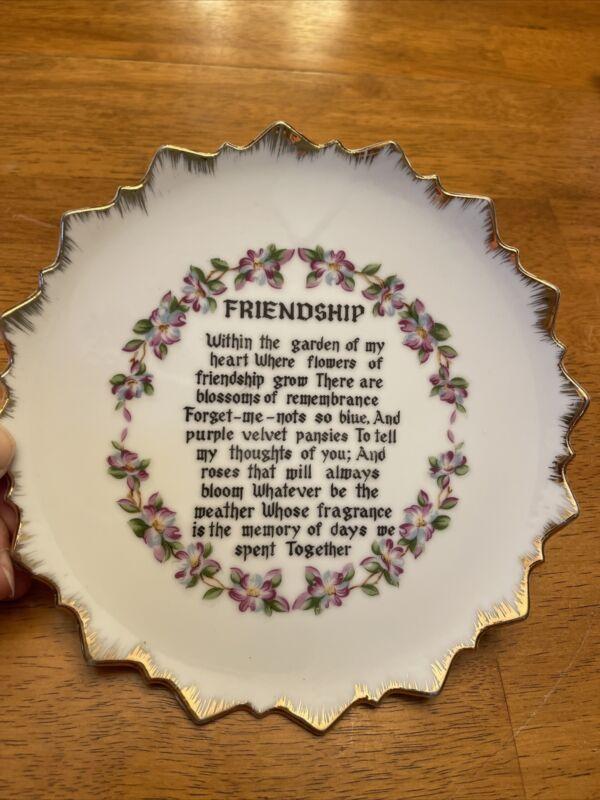 "Friendship Decorative 7 1/4"" Plate Unknown Maker"