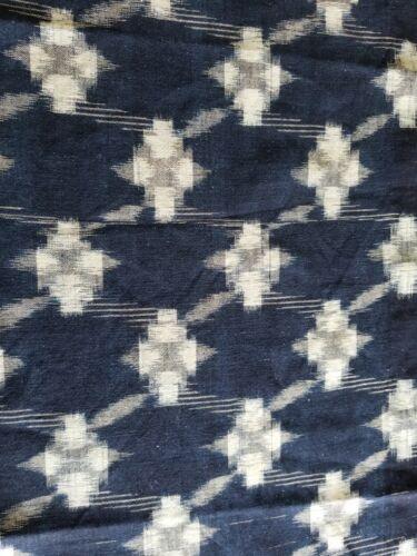 "Vintage kasuri woven cotton Japan Hawaiian fabric quilt panel 52""x13"" blossoms"