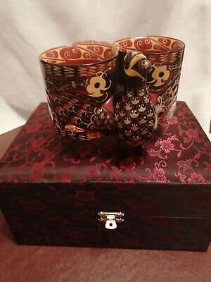 Boxed chinese catamaran twin peacock shape cups.. excellent condition..super ..