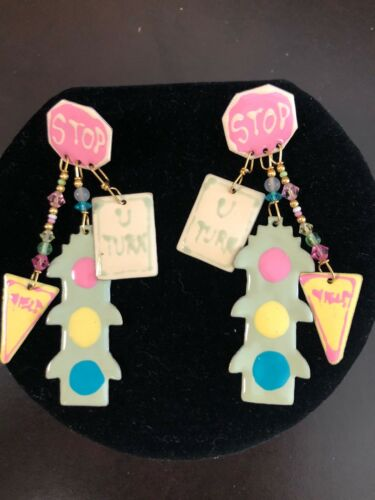 RARE Lunch At The Ritz TRAFFIC SIGNALS Pierced Earrings  - $75.00