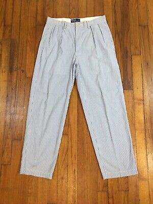 Mens POLO RALPH LAUREN Seersucker Striped Blue White Pants TAG 33 Fits 32W x 29L