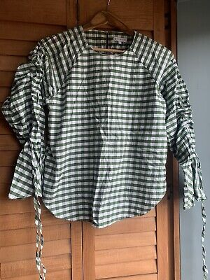 Warehouse Gingham Shirt With Ruched Sleeves Joseph Inspired Size 8