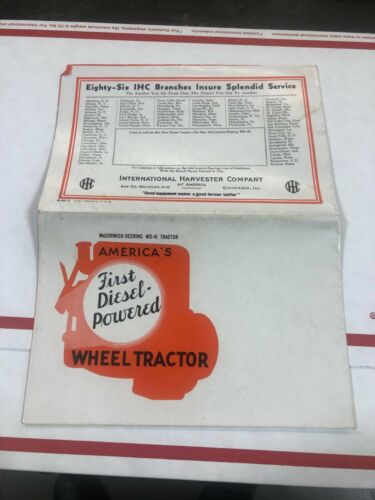 OLD VINTAGE McCormick Deering WD-40 Tractor color folding  sales catalog      RW