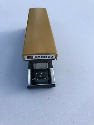 Vintage Acco 30 Desk Top Stapler Heavy Duty Durable Metal Retro Brown Tan Works