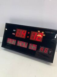 Rare Ivation Big Oversized Red LED Calendar Clock with Day Date and Temperature