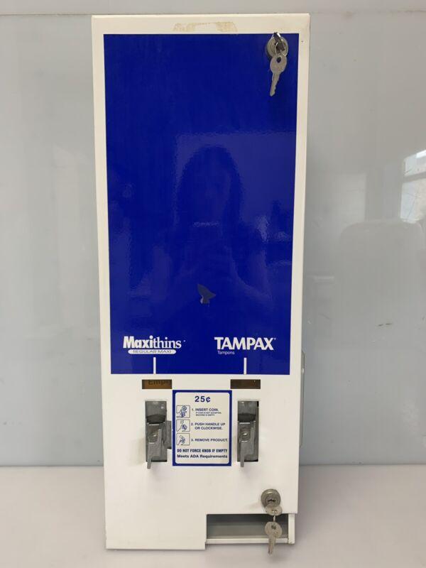 MaxiThins Dual No 1 Vendor Tampax Feminine Hygiene Vending Machine Coin Op 25¢