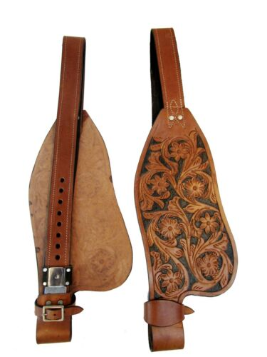 LEATHER FENDERS WESTERN HORSE ROPING SADDLE ROPER RANCH TOOLED LEATHER PAIR