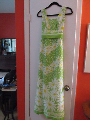 vintage sixties seventies floral hippy daisies dress maxi with capelet cover top](Seventies Dress)