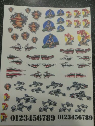 pinups shark clear water slide decals
