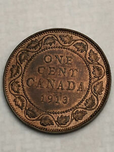 1913  Beautiful Canadian Large Penny Coin - UNCIRCULATED