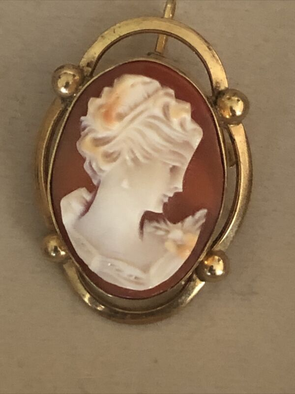 VINTAGE STUNNING 12K GF SHELL CARVED LADY CAMEO BROOCH PIN PENDANT FINE 5.9g