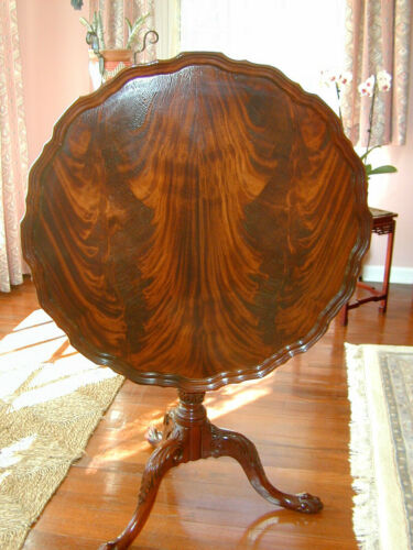 Councill Craftsmen Flame Mahogany Carved Pie Crust Occasional Table w/Claw Feet
