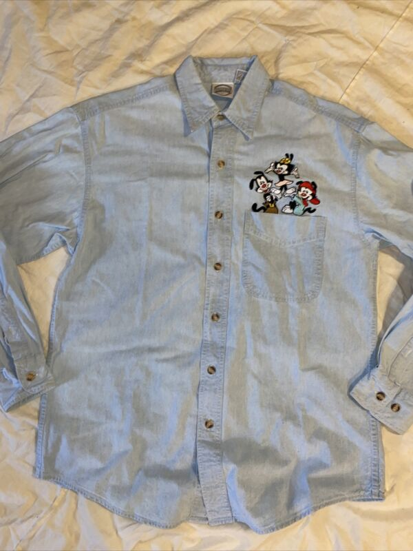 Vintage 1994 Embroidered Animaniacs Cotton Long Sleeve Jean Button Up Shirt S