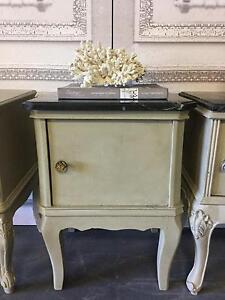 French Style Removable Marble Top Vintage Bedside Side Table Richmond Hawkesbury Area Preview
