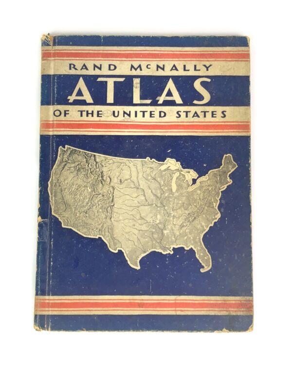 Vintage 1933 McNally Atlas Of United States USA 30s Map