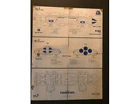 M5938 Original 1980s Space:1999 Eagle Blueprint Set-2 Fold Out Sheets//Envelope