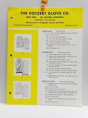 Vintage - THE DOTZERT GLOVE CO. - Brochure & Price List - ST. JACOBS, ONT. 1969