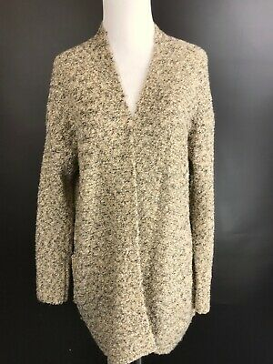 Rafaella Oversize Cardigan Sweater Loopy Knit BEIGE IVORY BLACK Size Medium