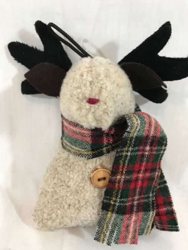 Vintage WOOF & POOF Ornament Fleece Reindeer Green & Red Plaid Muffler EXC