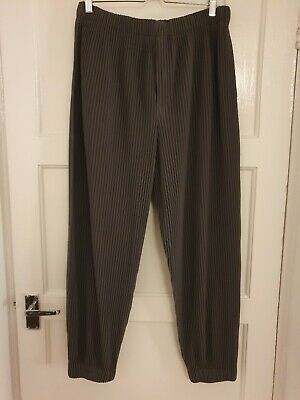 Homme Plisse Issey Miyake Pleated Joggers Cuffed Trousers Mole Grey - Size 3