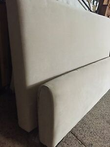 Cream upholstered Queen bed with mattress Plumpton Blacktown Area Preview