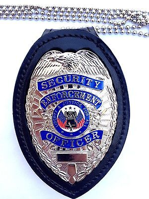 Leather clip on security police badge insignia holder metal chain