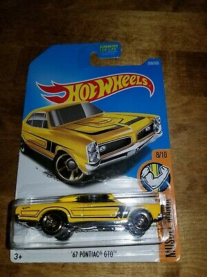 2017 Hot Wheels Muscle Mania '67 PONTIAC GTO Yellow 8/10 - 359/269 DVC43