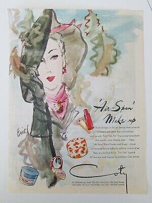 1944 Coty Airspun Maquillaje Carl Erickson Woman Sombrero Guantes Arte Anuncio