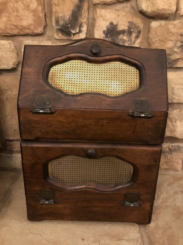 Vintage Bread Box Wood Double Kitchen Storage Box Container Farmhouse Decor