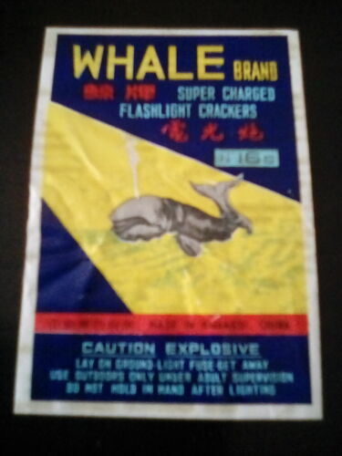 Vintage firecracker label ( WHALE BRAND ) RARE and collectable item Label Only